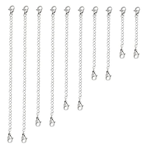 Naler 10pcs Stainless Steel Necklace Bracelet Extender Chain Jewellery - 5 Sizes in Silver from Naler