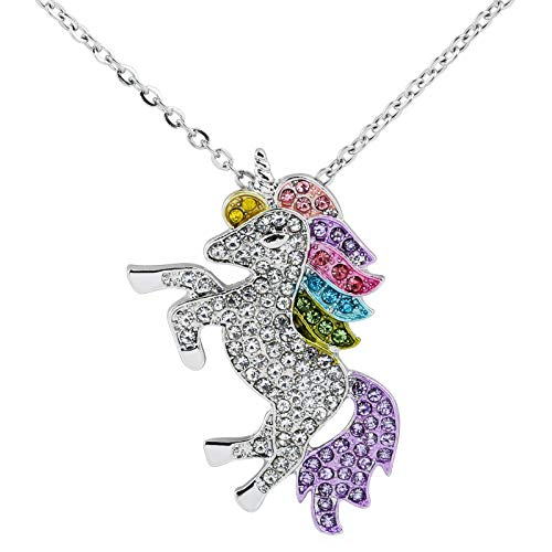 Naler Unicorn Pendant Necklace, Rainbow Crystal Unicorn Charm Pendant Silver Necklace Chain Jewellery Gift Box from Naler