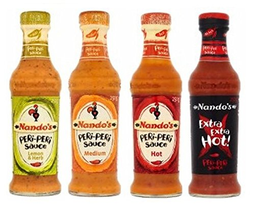 Nandos Peri Peri 125ml Sauces - Lemon & Herb, Medium, Hot + Extra Extra Hot Sauce. from Nando's