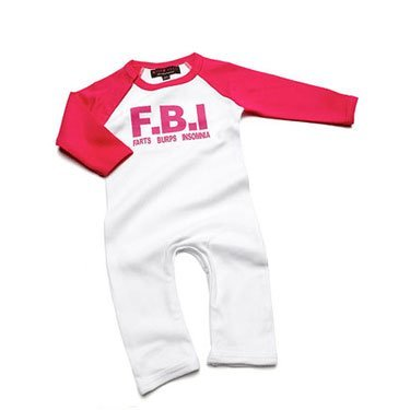F.B.I. Farts Burps Insomnia Blue Romper Suit/Babygrow 0-3 MONTHS from Nappy Head