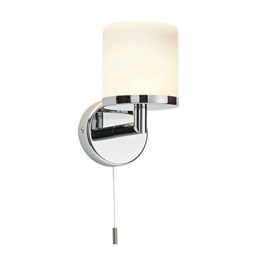 LIPCO Modern Chrome Plated and Frosted Glass Shade Dimmable Bathroom Wall Light with Pull Cord Switch IP44 Rated from National Lighting
