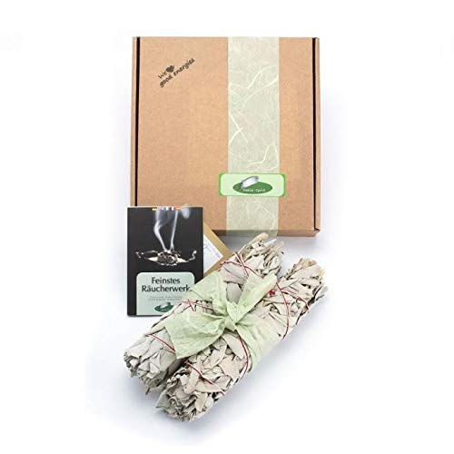 Pack of 2: WHITE SAGE Quality by Native Spirit XL Smudge Stick 7''-8'' (~18-21cm; je ~40-55gr) Incense fresh from California, buffalo sage, indian sage, wands from Native-spirit