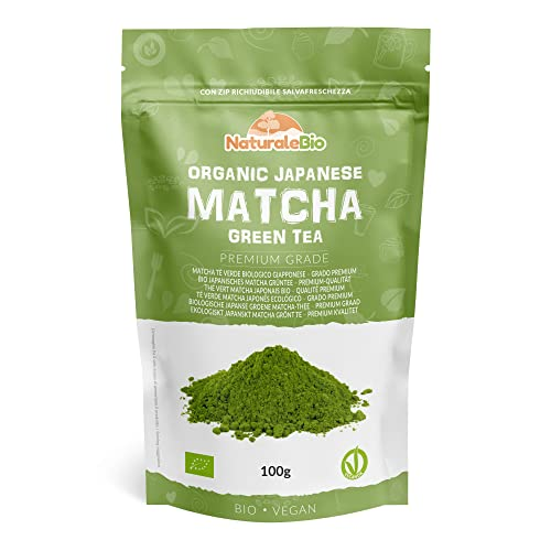 Japanese Organic Matcha Green Tea Powder [ Premium Grade ] 100g | Tea Produced in Japan, Uji, Kyoto | Use for Drinking, Cooking, Baking, Smoothie Making and with Milk | Vegan & Vegetarian Friendly from NaturaleBio