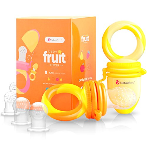 NatureBond Baby Food Feeder / Fruit Feeder Pacifier (2 PCs) - Infant Teething Toy Nibbler Teether and Silicone Food Pouches in Appetite Stimulating Colors | Includes 6 PCs All Sizes Silicone Sacs (Sunshine Orange & Lemonade Yellow) from NatureBond