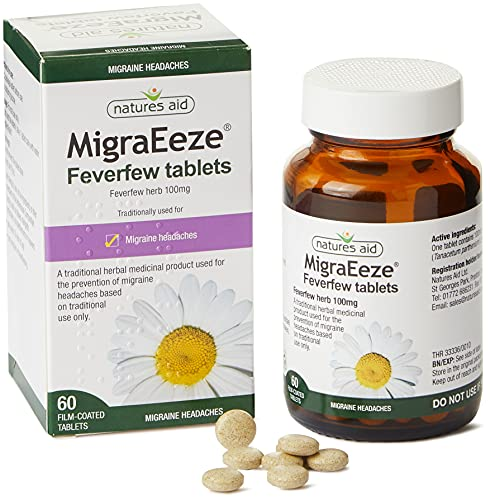 Natures Aid MigraEeze Feverfew, Prevent Migraine Headaches, Vegan, 60 Tablets from Natures Aid