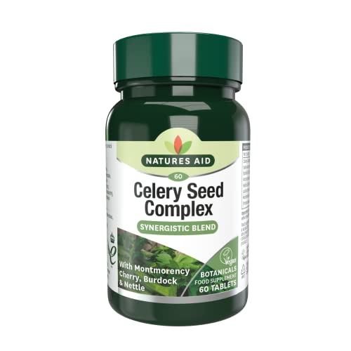 Natures Aid Celery Seed Complex, 60 Tablets (with Montmorency Cherry, Burdock and Nettle, Botanical Formula, Vegan Society Approved, Made in the UK) from Natures Aid