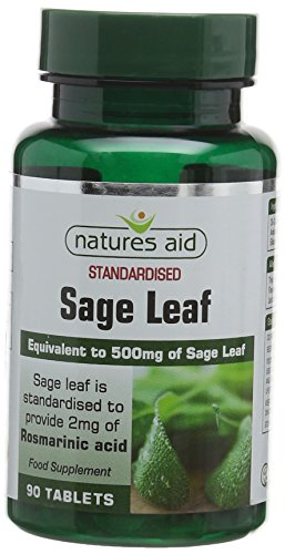 Natures Aid Sage Leaf 50 mg, 2 mg Rosamarinic Acids, Vegan, 90 Tablets from Natures Aid
