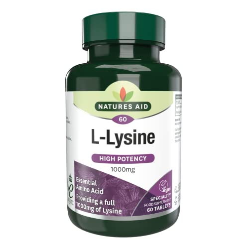 Natures Aid L-Lysine, 1000 mg, 60 Tablets (High Potency Essential Amino Acid, Made in the UK, Vegan Society Approved) from Natures Aid