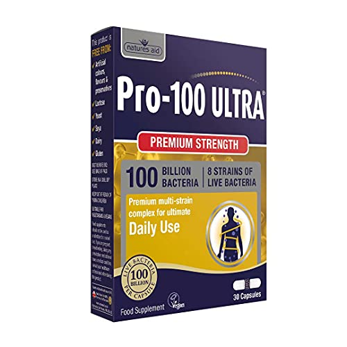 Natures Aid Pro-100 Ultra 100 Billion Live Bacteria, Ultimate Strength, 30 Capsules from Natures Aid