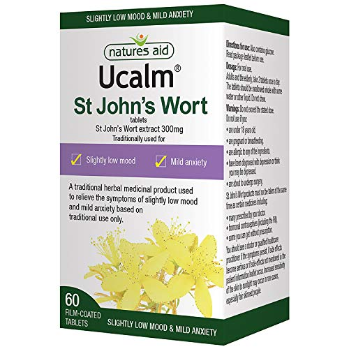 Natures Aid Ucalm St John's Wort Extract, 300 mg, 60 Tablets (Relief of the Symptoms of Slightly Low Mood and Mild Anxiety, Equivalent to 1500-2100 mg St John's Wort Herb, Vegan Society Approved) from Natures Aid