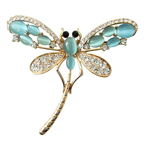 Navachi 18k Gold Plated Blue Opal Crystal Dragonfly Az8031b Brooch pins from Navachi