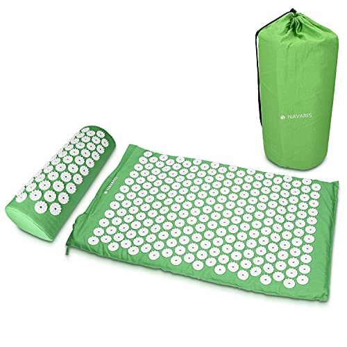 Navaris 2-in-1 Acupressure Mat and Pillow Set - Acupuncture Mat for Neck and Back Pain Massage Therapy and Stress Relief with Carrying Bag - Green from Navaris