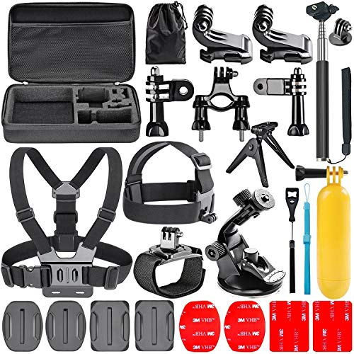 Navitech 18-in-1 Action Camera Accessories Combo Kit with EVA Case Compatible With The Mediacom SportCam Xpro 215| SportCam Xpro 280| SportCam Xpro 415| SportCam Xpro 430 from Navitech
