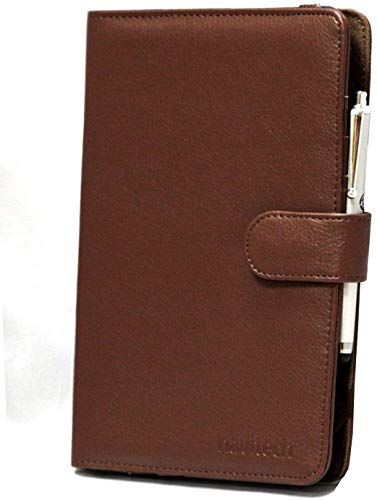 "Navitech 7"" Brown Leather Book Style Folio Case / Cover & Stylus Pen For The Kindle Fire HD 7"", HD Display, Wi-Fi, 8 GB / Kindle Fire HD 7"", HD Display, Wi-Fi, 16 GB from Navitech"