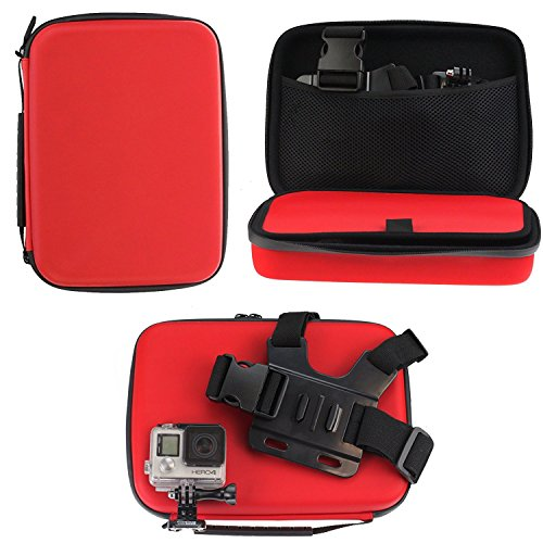 Navitech Red Shock Proof Hard Storage Case/Cover Compatible With The the DBPOWER Waterproof Action Sports Camera from Navitech