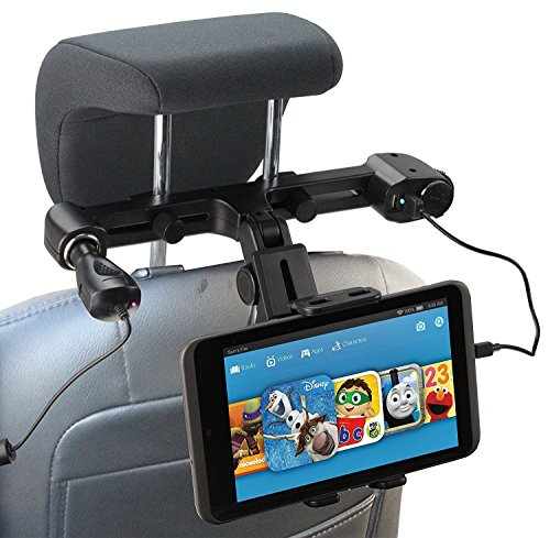 Navitech USB port 4.2A headrest mount with integrated car charger Compatible With The Samsung Galaxy Tab A SM-T580NZKAXAR 10.1-Inch Tablet from Navitech