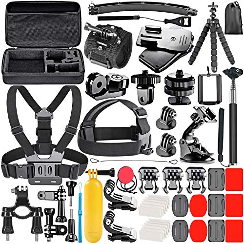 Neewer 53-In-1 Action Camera Accessory Kit for GoPro Hero Session/5 Hero 7 6 5 4 3+ 3 2 1 SJ4000 5000 6000 DBPOWER AKASO VicTsing APEMAN WiMiUS Rollei QUMOX and More from Neewer