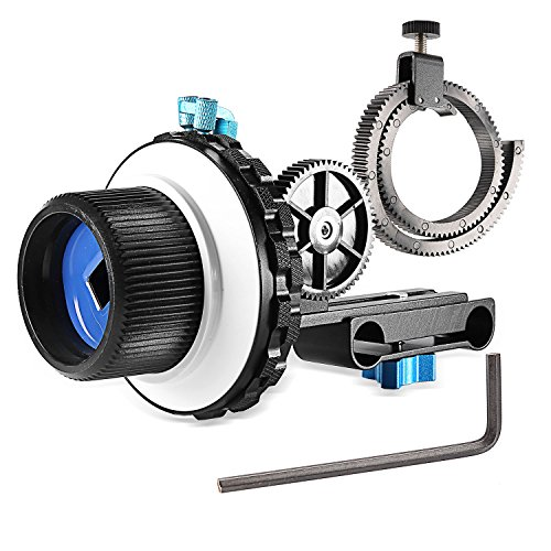 Neewer A-B Stop Follow Focus C2 with Gear Ring Belt for DSLR Cameras Such as Nikon,Canon,Sony DV/Camcorder/Film/Video Cameras,Fits 15mm Rod Mounts,Shoulder Supports from Neewer