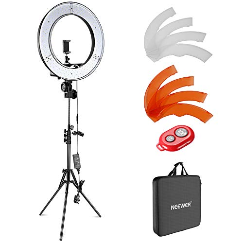 Neewer Camera Photo Video Lightning Kit: 18 inches/48 centimeters Outer 55W 5500K Dimmable LED Ring Light, Light Stand, Bluetooth Receiver for Smartphone, Youtube, Vine Self-Portrait Video Shooting from Neewer