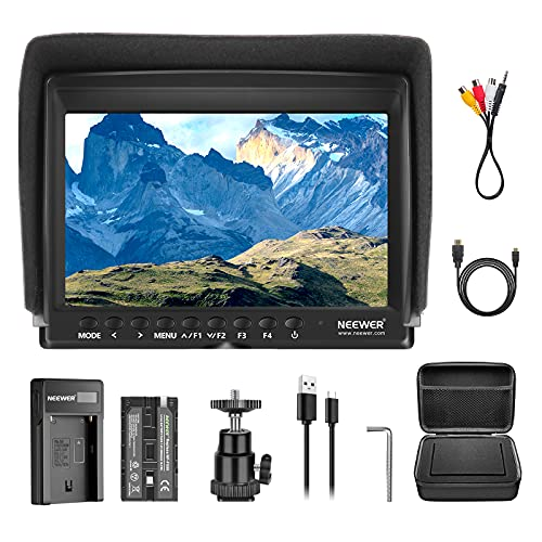 Neewer NW759 Camera Field Monitor Kit:7 inches Ultra HD 1280x800 IPS Screen Field Monitor+F550 Replacement Battery+Micro USB Battery Charger+Carrying Case for Sony Canon Nikon Olympus Pentax Panasonic from Neewer