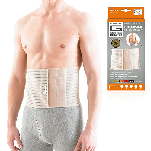 NEO G Upper Abdominal Hernia Support - MEDIUM - Beige - Medical Grade Quality, breathable & adjustable, pre/post-surgery aid HELPS reduce symptoms of overstrain & exertion, abdominal hernias - Unisex from Neo-G