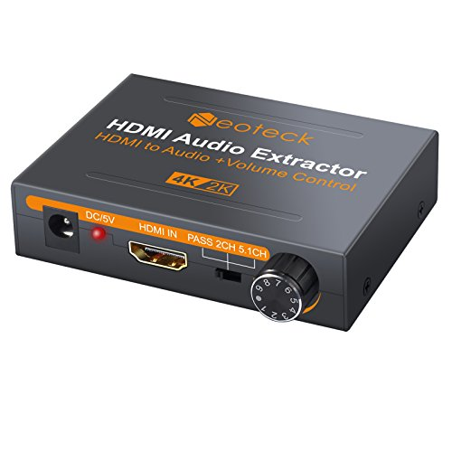 Neoteck HDMI Audio Extractor 4K DAC HDMI Audio Extractor with Volume Adjustment HDMI to Optical Spdif Toslink + R/L(RCA) + 3.5mm Stereo Audio Converter for Blu-ray DVD Player Xbox One SKY HD Box PS3 from Neoteck