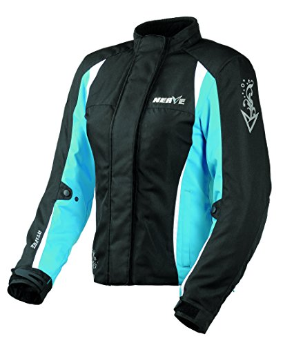NERVE 1510010902_03 Unique Star Ladies Motorcycle Jacket, Black/Blue, Size : 38 from Nerve