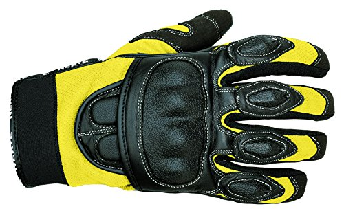 NERVE 1513120308_06 Sporty Motorcycle Gloves, Black/Yellow, XXL, Size : 12 from Nerve