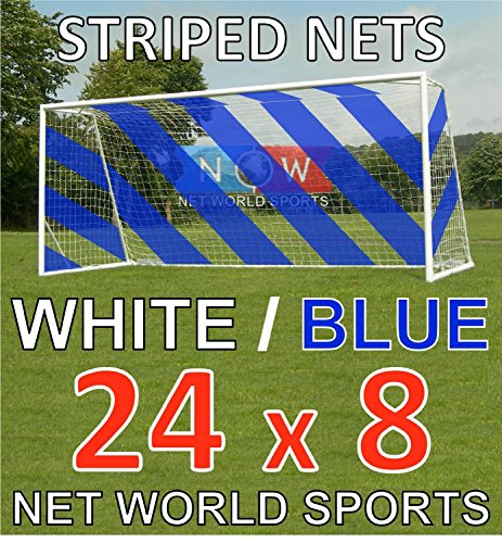 24ft x 8ft Full Size Striped Football Goal Net (3mm) (PAIR) - Choice of 11 Combinations To Match Your Team's Colours [Net World Sports] (Blue/White) from Net World Sports