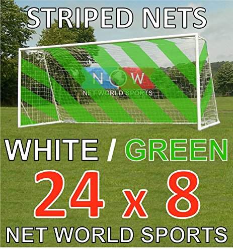 24ft x 8ft Full Size Striped Football Goal Net (3mm) (PAIR) – Choice of 11 Combinations To Match Your Team's Colours [Net World Sports] (Green/White) from Net World Sports