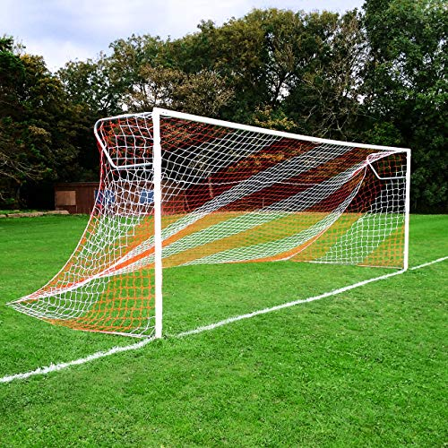 24ft x 8ft Full Size Striped Football Goal Net (3mm) (SINGLE) - Choice of 11 Combinations To Match Your Team's Colours [Net World Sports] (Blue/Red) from Net World Sports