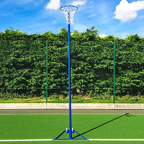 Net World Sports Freestanding Netball Post (School Standard) – Wheelaway Self Weighted Netball Package – Add Ball & Padding (Single Netball Posts With Netball & Padding) from Net World Sports