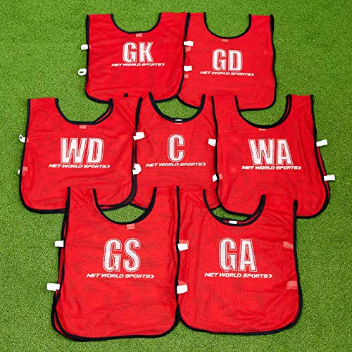 Netball Bibs [All Positions] – 7 Pack Of Light, Breathable Bibs For All Ages – Red or Blue [Net World Sports] (Red, Kids) from Net World Sports