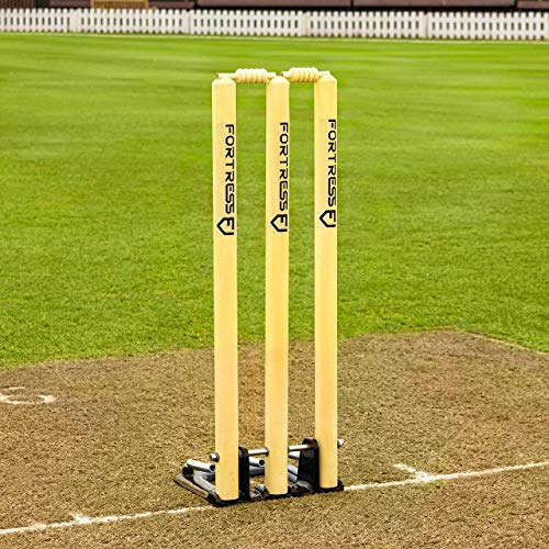 FORTRESS Spring Back Cricket Stumps - 28in ICC Regulation - Premium Wooden Stumps from FORTRESS