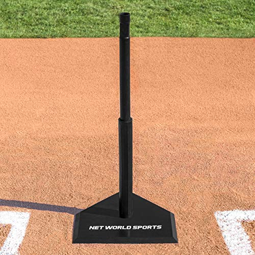 FORTRESS Telescopic Baseball Batting Tee (Black Rubber) (4.5kg) – The Easiest Way To Get Your Baseball Swing To Major League Levels [Net World Sports] from FORTRESS