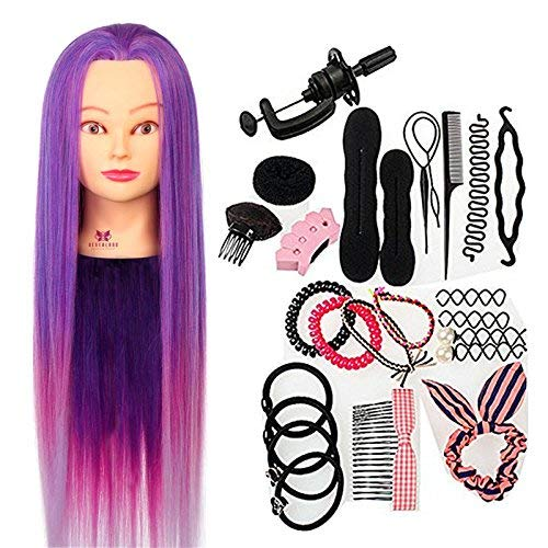 Neverland Practice Practice Training Head Synthetic Hair 64 cm Purple Hair Styling Braid Set from Neverland
