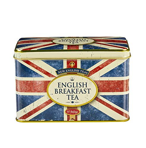 New English Teas Memorabilia English Breakfast Tea in Vintage Style Union Jack Tin 40 Teabags (Pack of 2) from New English Teas