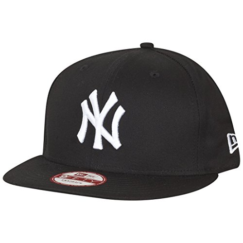 New Era Men's 9FIFTY Black and White NY Snapback Baseball Cap, Black/White, Large (Manufacturer Size:Medium/Large) from New Era
