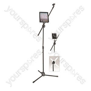 New Jersey Sound Black Microphone Boom Arm Stand inc. tablet housing from NJS