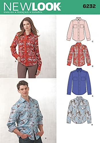 New Look Ladies & Mens Sewing Pattern 6232 Classic Long Sleeve Shirts from New Look