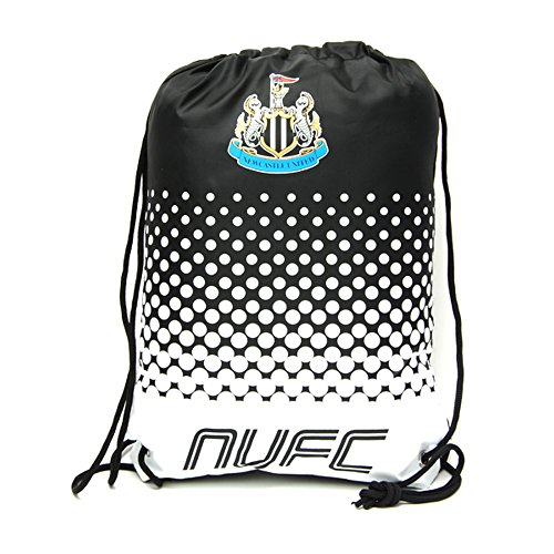 Newcastle United FC Official Fade Football Crest Drawstring Sports/Gym Bag (One Size) (Black/White) from Newcastle United F.C.