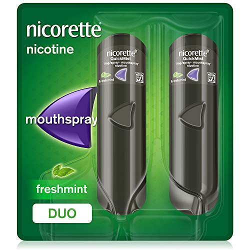 Nicorette QuickMist Mouth Spray Duo Pack, Fresh Mint, 1 mg (Stop Smoking Aid) Packaging may vary from Nicorette