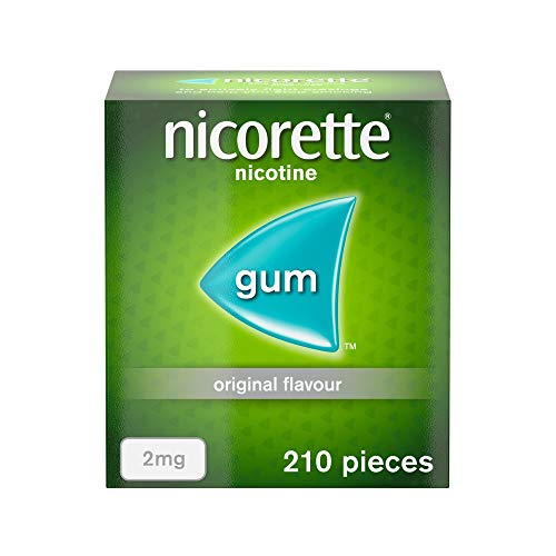 Nicorette Original Chewing Gum, 2 mg, 210 Pieces (Stop Smoking Aid) - Packaging May Vary from Nicorette