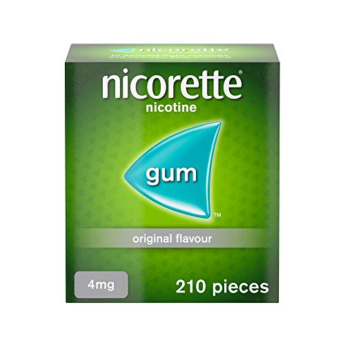 Nicorette Original Chewing Gum, 4 mg, 210 Pieces (Stop Smoking Aid) - Packaging may Vary from Nicorette