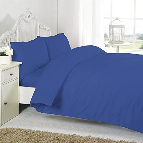 Night Zone 100% Egyptian Cotton 200 Thread Count Duvet Cover Set, Blue, Cot Bed from Night Zone