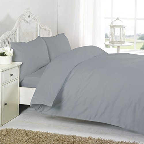 Night Zone 100% Egyptian Cotton 200 Thread Count Duvet Cover Set, Grey, Cot Bed from Night Zone