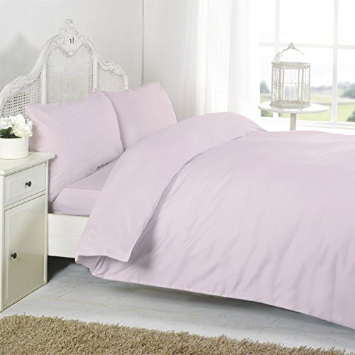 Night Zone 100% Egyptian Cotton 200 Thread Count Duvet Cover Set, Pink, Cot Bed from Night Zone