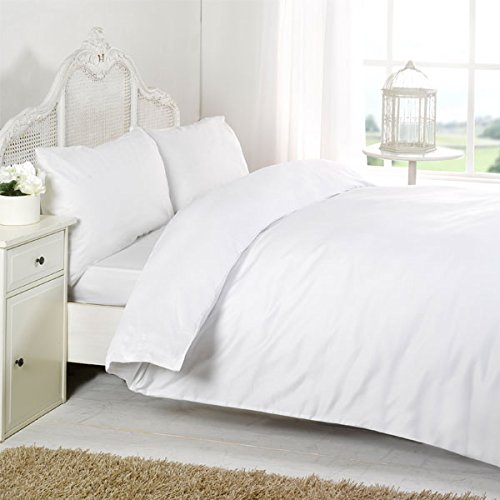 Night Zone 100% Egyptian Cotton 200 Thread Count Duvet Cover Set, White, Cot Bed from Night Zone
