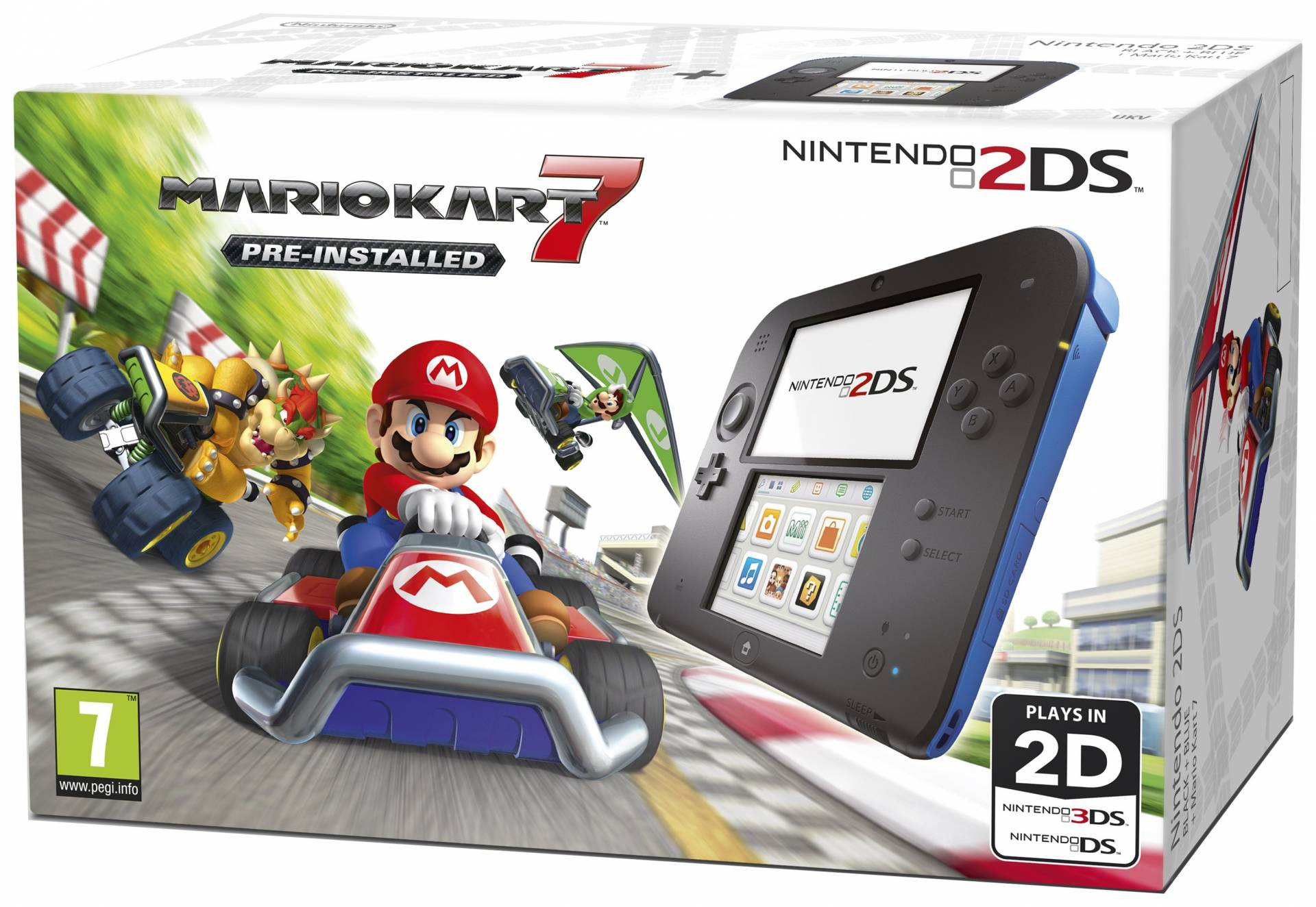 Nintendo - 2DS Black & Blue Console with Mario - Kart 7 Bundle from Nintendo