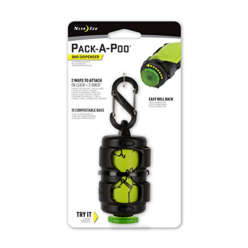 Nite Ize Pack-A-Poo Bag Dispenser with Refill Roll - Black/Green, N/A from Nite Ize